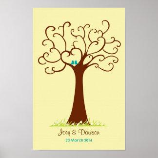 Fingerprint Tree Wedding - Heartastic (Cream) Poster
