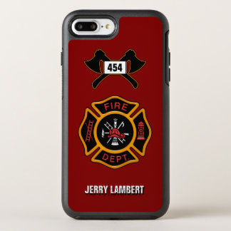 Fire Department Firefighter Badge Name Template OtterBox Symmetry iPhone 7 Plus Case