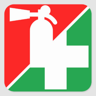 Fire Extinguisher / First Aid Decals Square Sticker