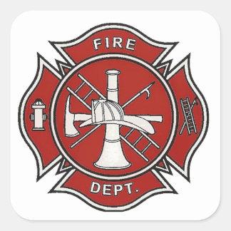 Fire Fighter Badge Square Sticker