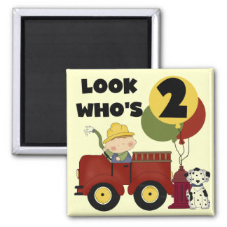 Fireman 2nd Birthday Tshirts and Gifts Square Magnet