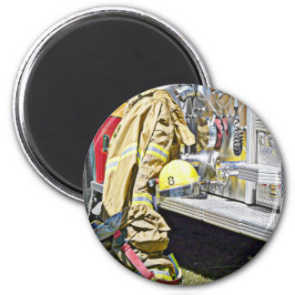 Fireman Firefighting Suit and Truck 6 Cm Round Magnet