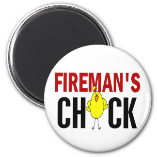 Fireman's Chick 6 Cm Round Magnet