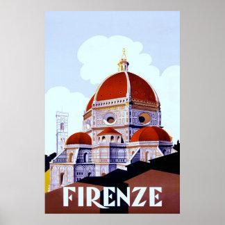Firenze ~Vintage Italian Travel Canvas. Poster