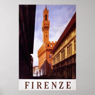Firenze ~ Vintage Italian Travel Poster. Poster
