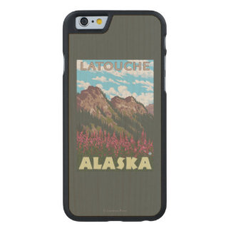 Fireweed & Mountains - Latouche, Alaska Carved® Maple iPhone 6 Case
