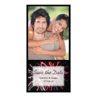 Fireworks Wedding Save the Date Picture Card