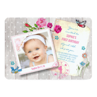 First Birthday Girl Wood | Photo Party Invitation