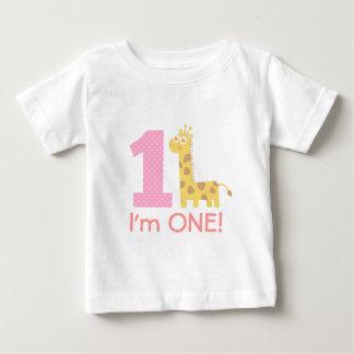 First Birthday, I'm One, Cute Giraffe Tshirt