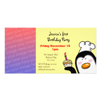 First birthday party invite ( birthday cupcake ) photo greeting card