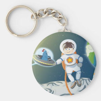 First contact basic round button key ring