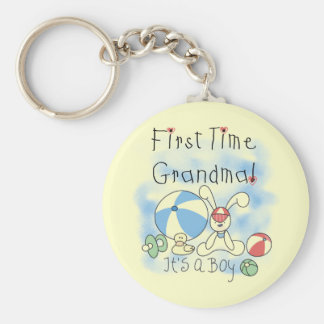 First Time Grandma of Boy Tshirts and Gifts Basic Round Button Key Ring