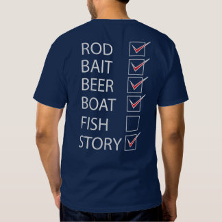 Fishing Check Off List on back Funny Navy T-shirt