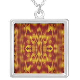 Flames Abstract Square Pendant Necklace
