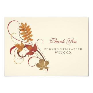 Flat Thank You Card | Autumn Fall Leaves 9 Cm X 13 Cm Invitation Card