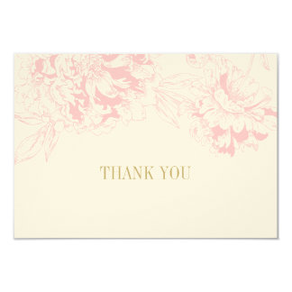 Flat Thank You Cards | Pink Floral Peony Design 9 Cm X 13 Cm Invitation Card