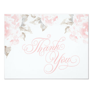 Flat Thank You Cards | Pink Watercolor Roses 11 Cm X 14 Cm Invitation Card