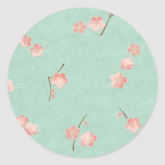 Floating Blossoms on Aqua Round Sticker