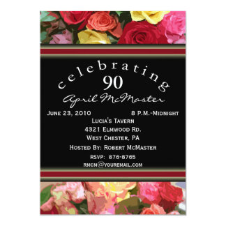 Floral 90th Birthday Party Invitation