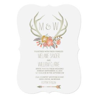 FLORAL ANTLERS | RUSTIC WEDDING INVITATION