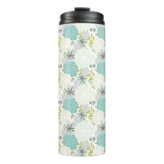 Floral background thermal tumbler