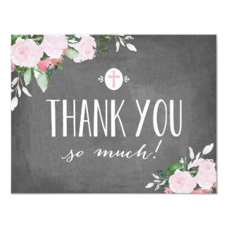 Floral Blooms Chalkboard Religious Thank You Card 11 Cm X 14 Cm Invitation Card