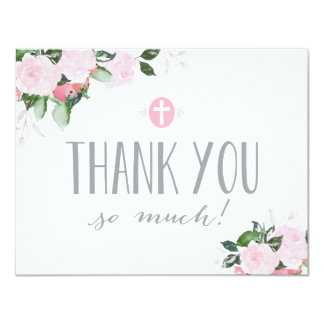 Floral Blooms Religious Thank You Card 11 Cm X 14 Cm Invitation Card
