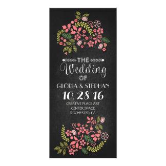 floral chalkboard wedding program cards rack card template