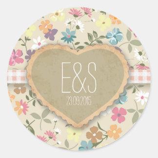 Floral Heart Print Wedding Invitation Stickers