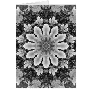 Floral mandala-style, Blossoms black, white, gray Greeting Card