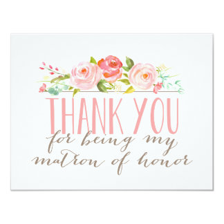 Floral Matron Of Honor Thank You 11 Cm X 14 Cm Invitation Card