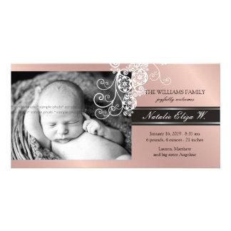 Floral Paisley White Birth Announcement Photo Card