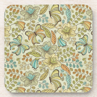 Floral pattern: flowers and butterflies coasters