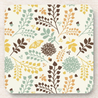 Floral pattern: leaves, flowers and butterfly coasters