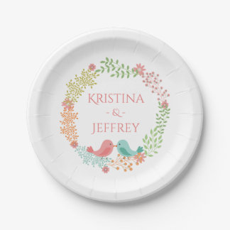 Floral Pink Lovebirds Personalized Wedding 7 Inch Paper Plate