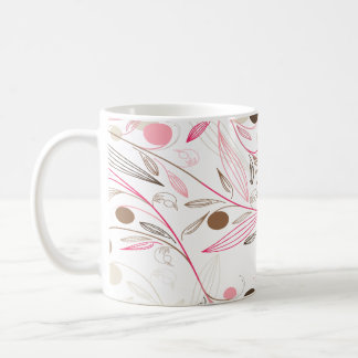 floral printing, brown flowers and pink lines basic white mug