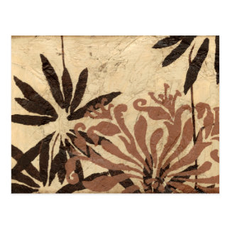 Floral Stencil Design with Tawny Leaves Postcard