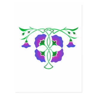 Floral stencil with celtic knot postcard