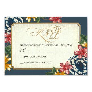 Floral Wedding RSVP Insert Card 9 Cm X 13 Cm Invitation Card