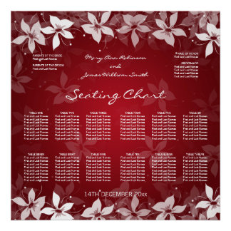 Floral Wedding Seating Chart Exotic Blooms Red Poster