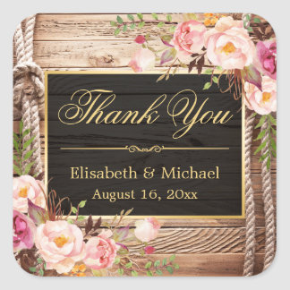 Floral Wood Rustic Country Gold Frame Thank You Square Sticker