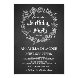 Floral Wreath Chalkboard Birthday Party Invitation