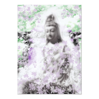 Flower and the Merciful Goddess 菩 薩 with Ise shrin 13 Cm X 18 Cm Invitation Card