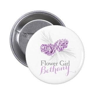Flower girl pine cone purple wedding pin button