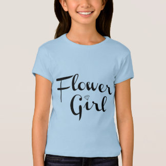 Flower Girl Retro Script Black on Blue T-shirts