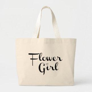 Flower Girl Retro Script Black on White Jumbo Tote Bag