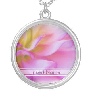 Flower Pink Dahlia Round Pendant Necklace