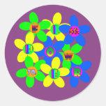 Flower Power 60s-70s 2 Round Sticker