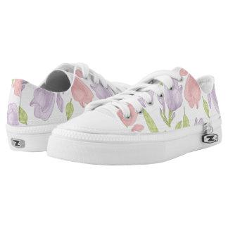 Flowers plumeria pink-purple Pattern Printed Shoes
