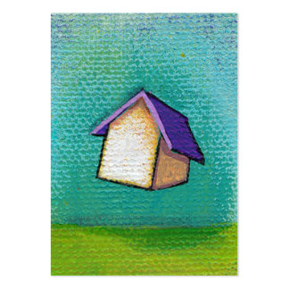 Flying house traveling home fun colorful happy art pack of chubby business cards